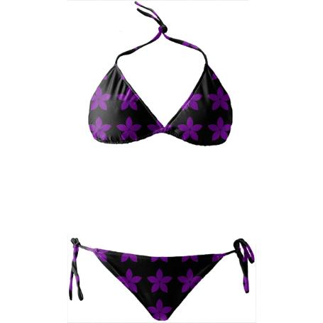 BLACK AND PURPLE FLORAL PRINT BIKINI