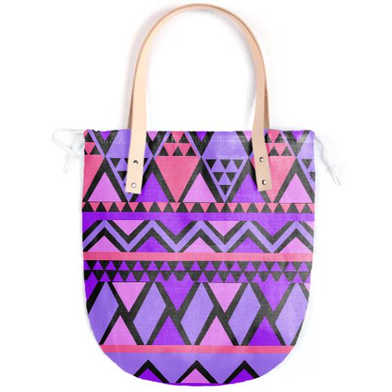 Purple Blue Pink Printed Tote Bag