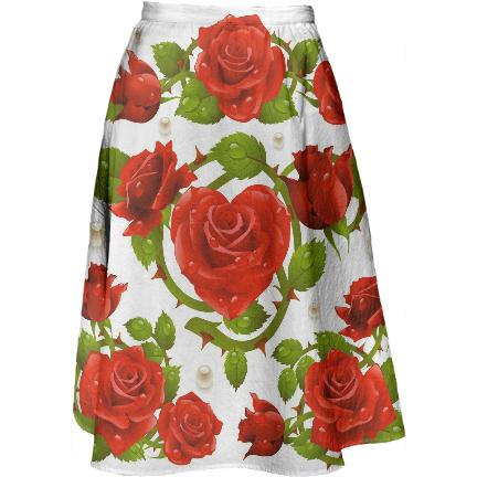 Tribal Rose Midi Skirt RED