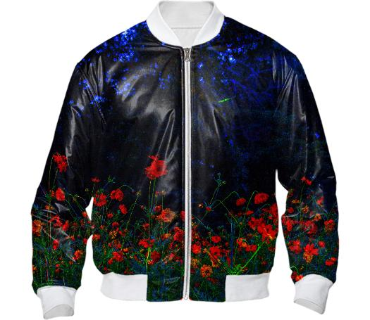 Vibrant Night Garden Bomber