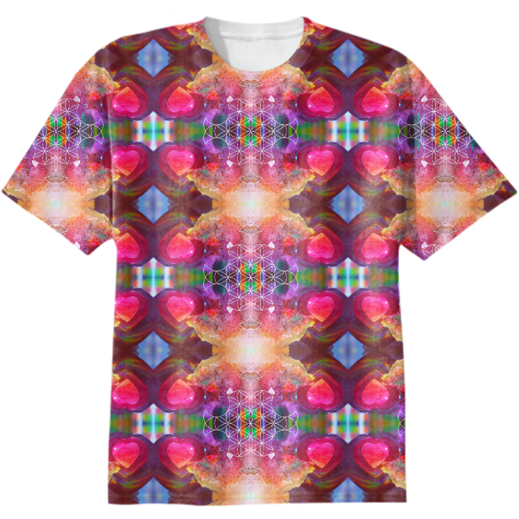 rainbow amethyst and rose quartz crystal rainbow mandala ~ cotton tshirt  ~ design 02