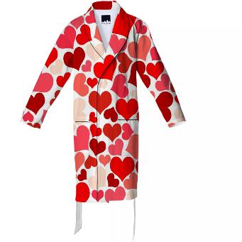 RED PINK BEIGE HEART EXPLOSION ROBE