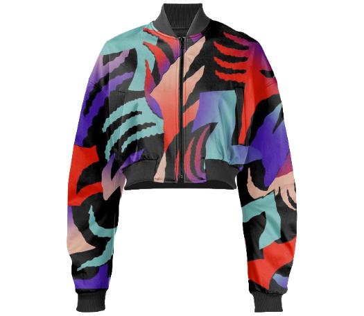 PAOM, Print All Over Me, digital print, design, fashion, style, collaboration, gambette, Gabriel Held Cropped Bomber Jacket, Gabriel-Held-Cropped-Bomber-Jacket, GabrielHeldCroppedBomberJacket, Djongle, autumn winter, unisex, Neoprene, Outerwear