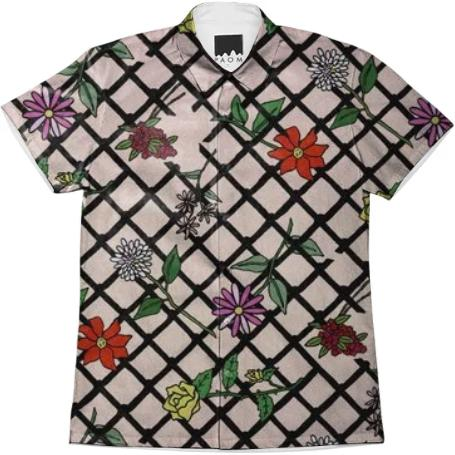 Fence Net Floral Unisex Button Up