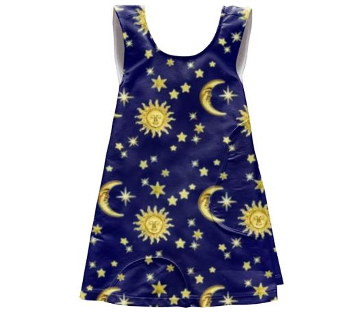 Sun Moon Stars Apron Dress