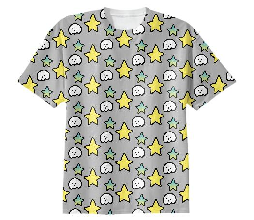 stars, tee, tee shirt, cotton tee, tshirt, hikari shimoda, collaboration, paom