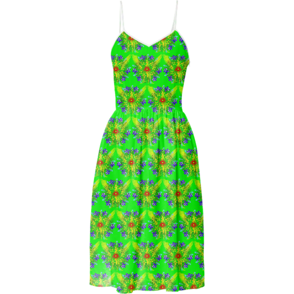 Flower Doodle on Green Summer Dress