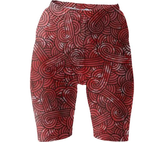 Red and black swirls doodles Bike Shorts