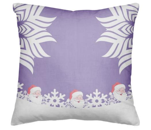 SANTA CLAUS SNOWFLAKE CHRISTMAS PILLOW