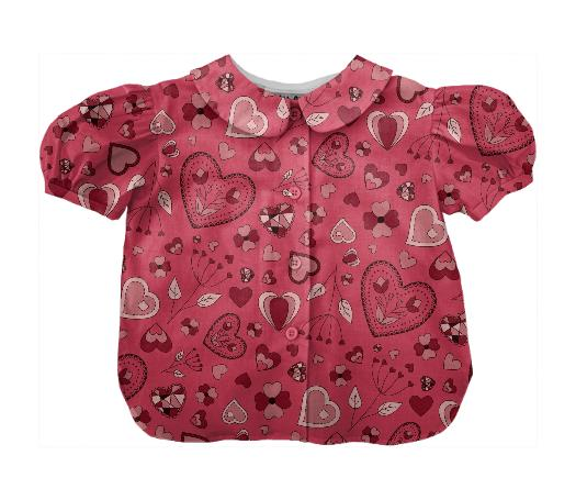 Pink flowers and hearts kids blouse