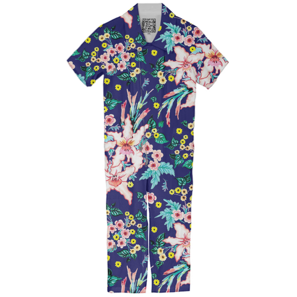 Lily Floral bold pattern in Navy and Pink