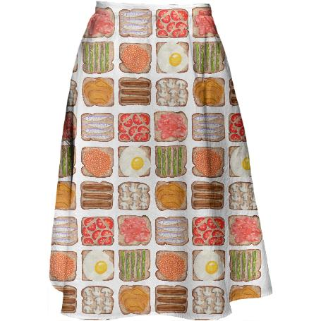 Breakfast Toast Midi Skirt