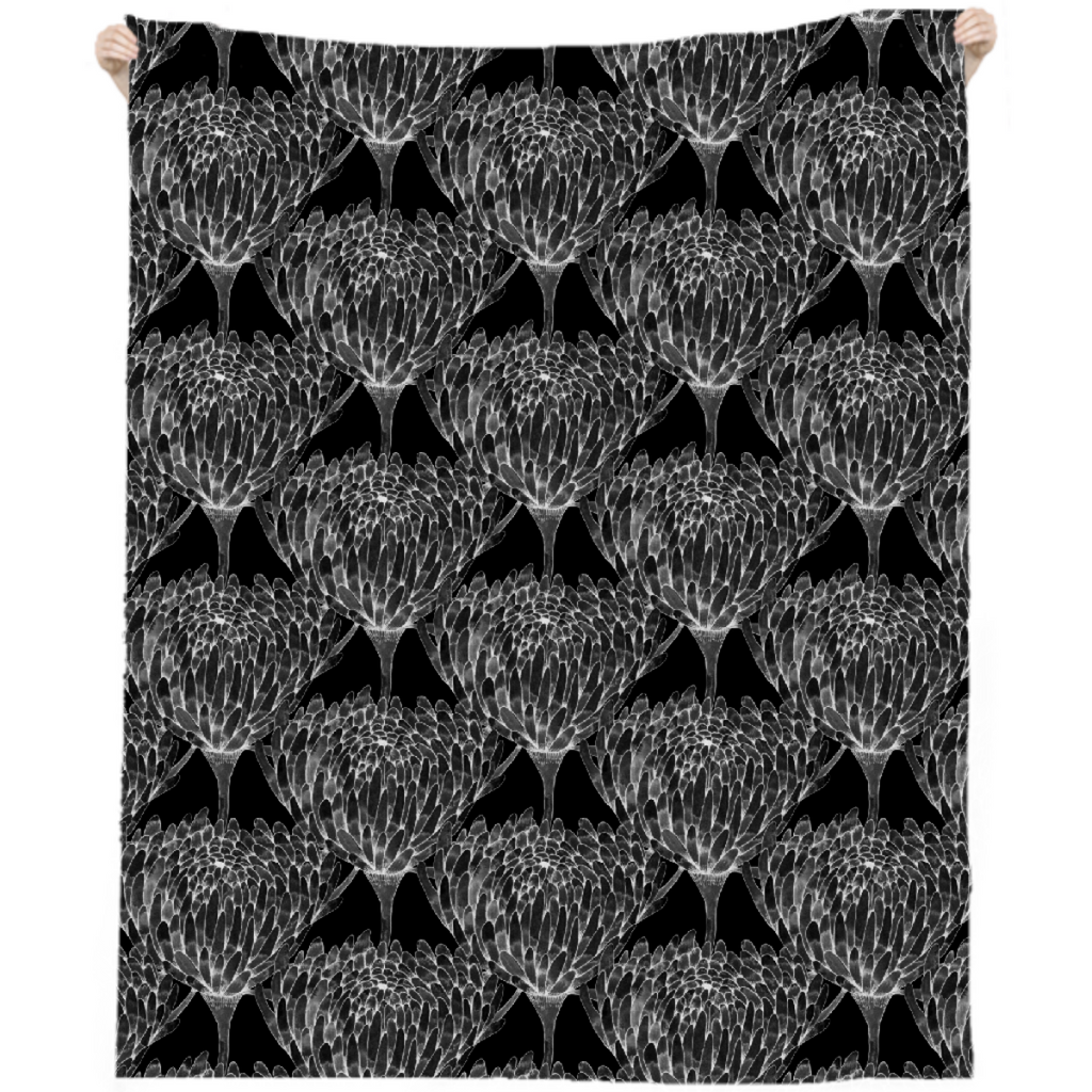 Chrysanthemum Crowd Black on black Linen Beach Throw
