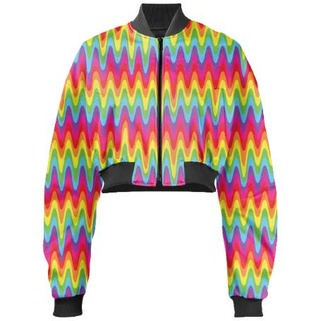 PAOM, Print All Over Me, digital print, design, fashion, style, collaboration, paomcollabs, Gabriel Held Cropped Bomber Jacket, Gabriel-Held-Cropped-Bomber-Jacket, GabrielHeldCroppedBomberJacket, Drippy, Rainbow, autumn winter, unisex, Neoprene, Outerwear