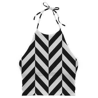 BLACK AND WHITE HERRINGBONE Halter Top