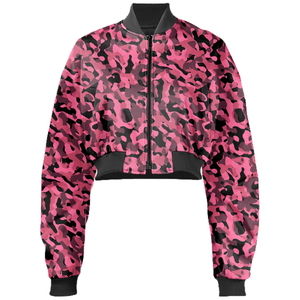 Pink and Black Camo Camouflage Pattern Bomber Jacket