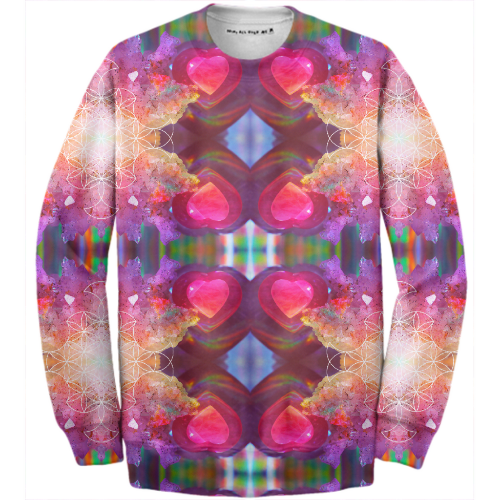 rainbow amethyst rose quartz crystal mandala sweatshirt - design 2