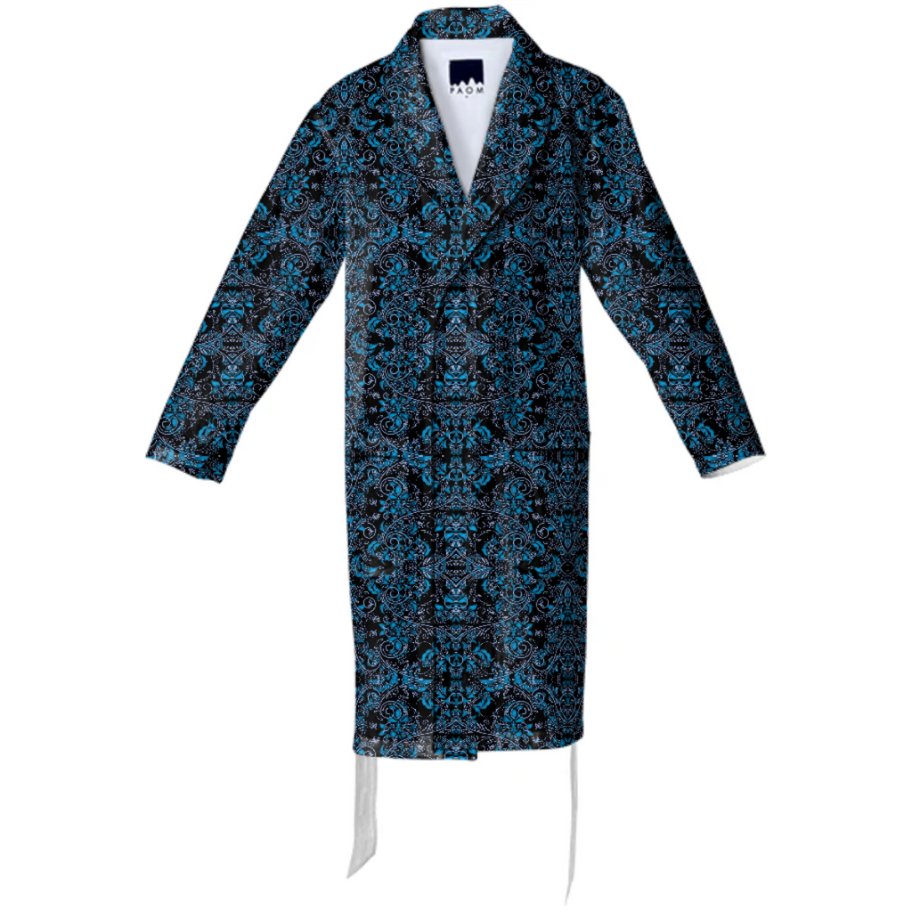 Blue Vines and Lace Cotton Robe