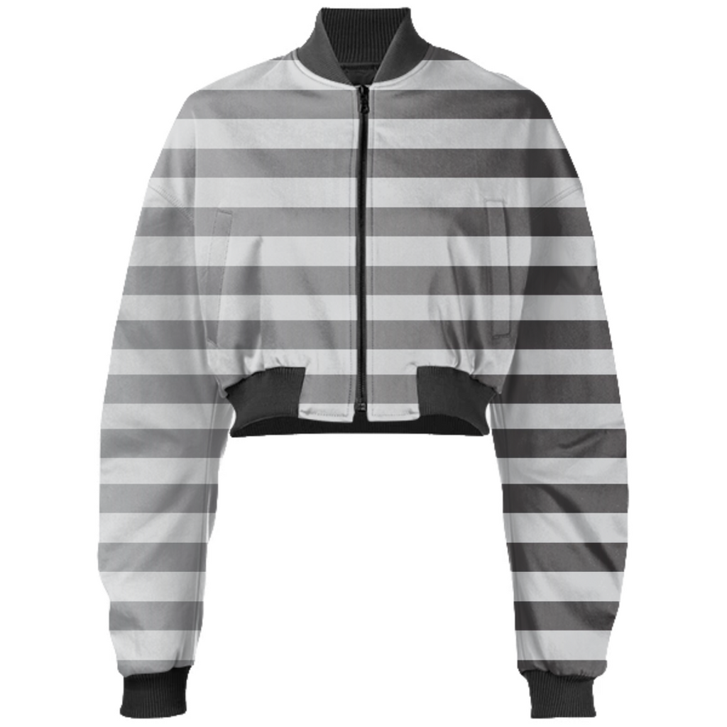 Silver Stripped Cropped Bomber Jacket
