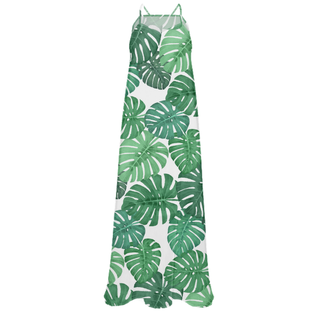 Monstera Jungle Chiffon Maxi Dress by Frank-Joseph