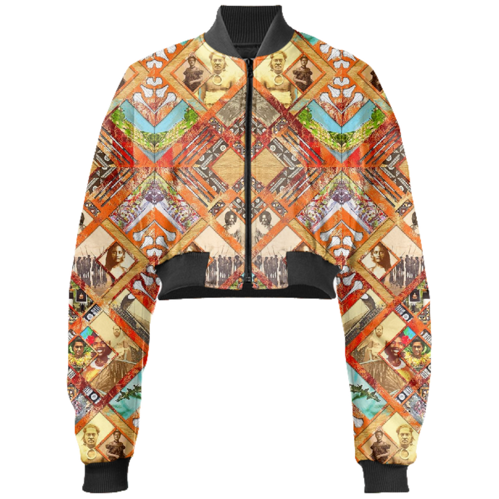 PAOM, Print All Over Me, digital print, design, fashion, style, collaboration, babyboofiji, Gabriel Held Cropped Bomber Jacket, Gabriel-Held-Cropped-Bomber-Jacket, GabrielHeldCroppedBomberJacket, Fiji, Ancestors, autumn winter, unisex, Neoprene, Outerwear