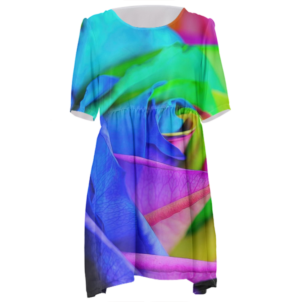 Rainbow Rose Babydoll Dress
