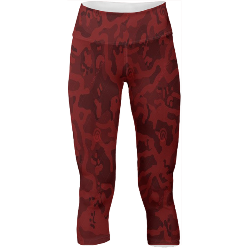 army red texture design on yoga pants