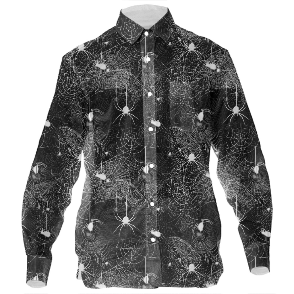 Black and White Spider Webs Mens Button Down