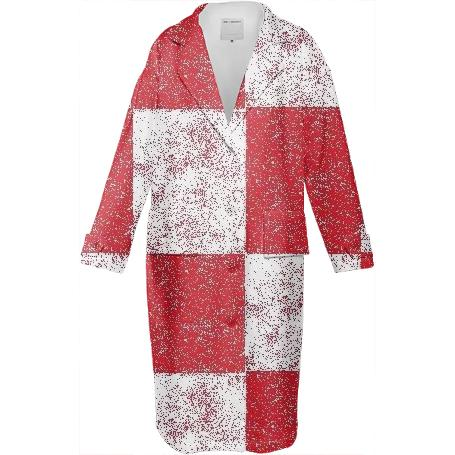 Frost Red Checkered Neoprene Coat by LadyT Designs