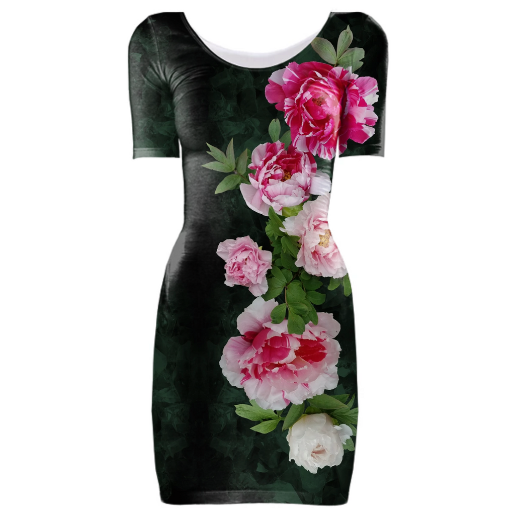 Fleur de Lis Bodycon Dress-Emerald