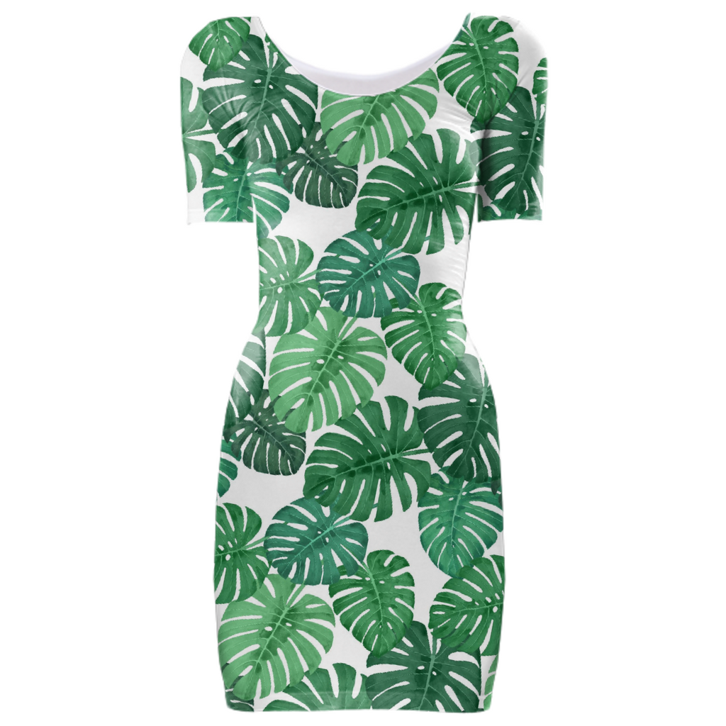 Monstera Jungle Bodycon Dress by Frank-Joseph