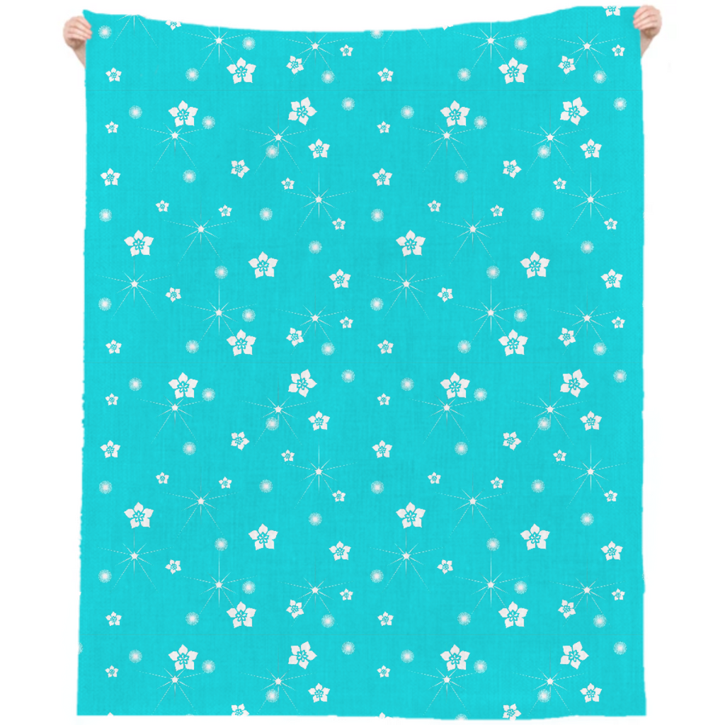 Abstract Flowers Explosion Linen Beach Throw
