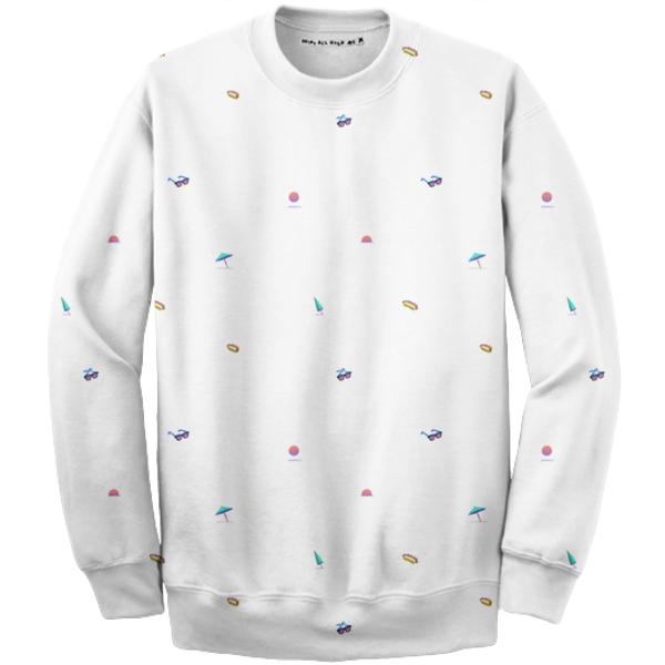 PAOM, Print All Over Me, digital print, design, fashion, style, collaboration, giphy, Cotton Sweatshirt, Cotton-Sweatshirt, CottonSweatshirt, Pixel, Beach, autumn winter, unisex, Cotton, Tops