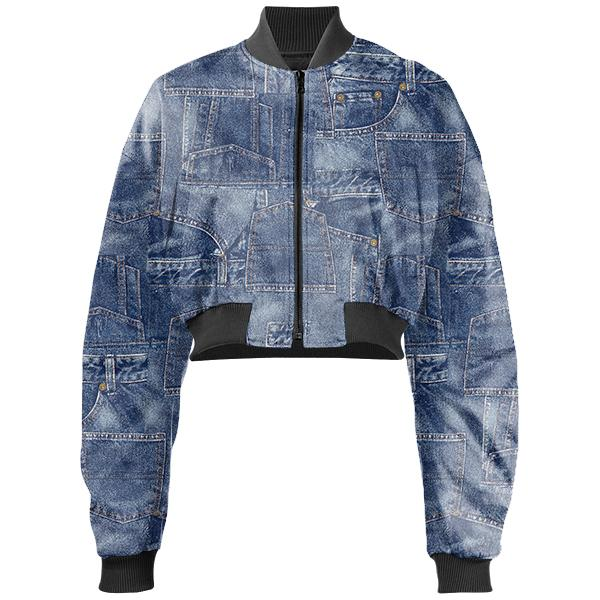 Gabriel Held Patch Denim Neoprene Cropped Bomber Jacket