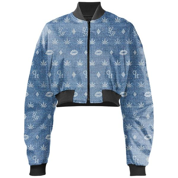 PAOM, Print All Over Me, digital print, design, fashion, style, collaboration, gabrielheld, Gabriel Held Cropped Bomber Jacket, Gabriel-Held-Cropped-Bomber-Jacket, GabrielHeldCroppedBomberJacket, Denim, Logo, Neoprene, autumn winter, unisex, Neoprene, Outerwear