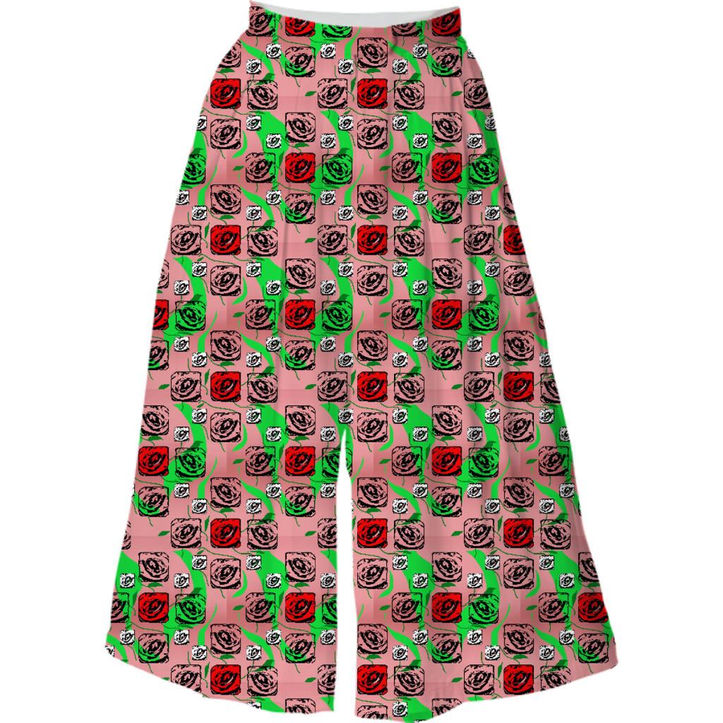 Red and White Roses On Pink Culotte