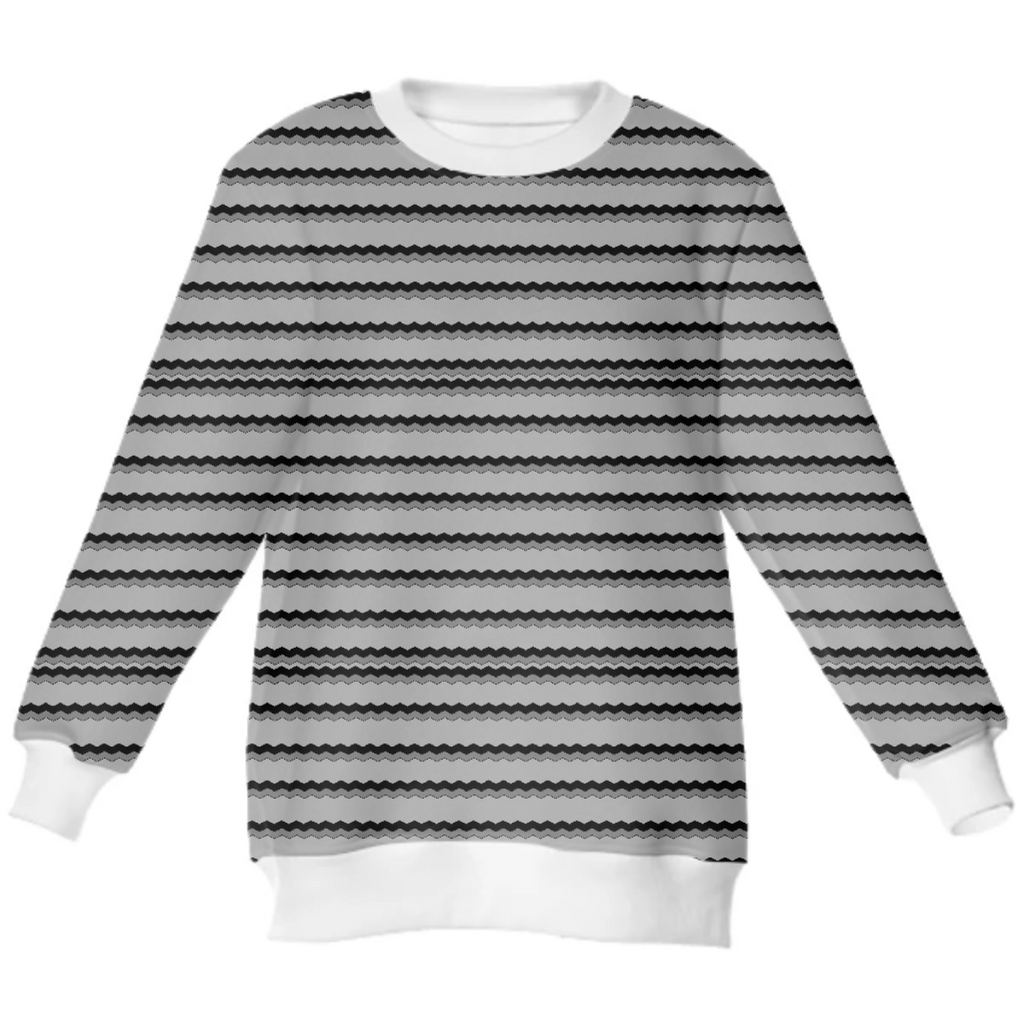 Gray Jagged Line Neoprene Sweatshirt