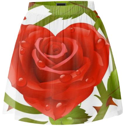 Tribal Rose Summer Skirt RED