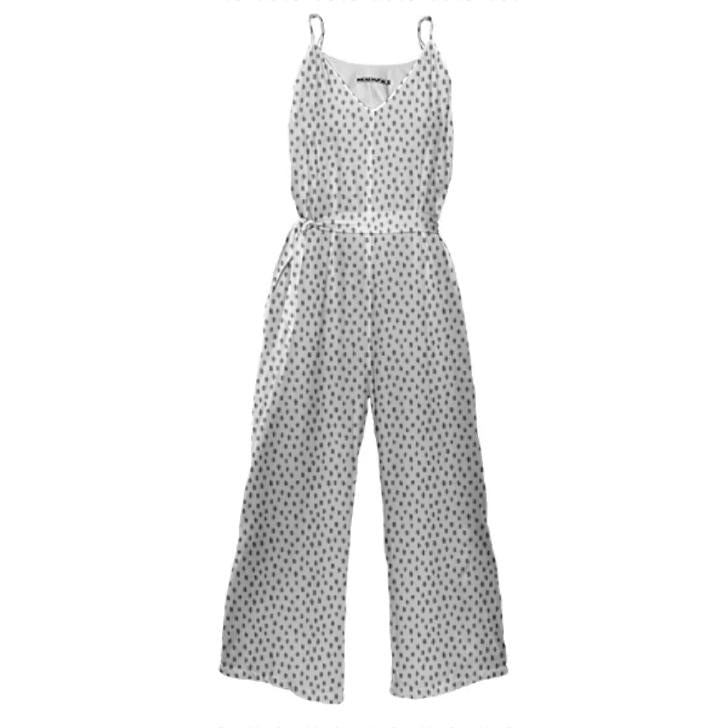 Tie Waist Jumpsuit Irregular Dot