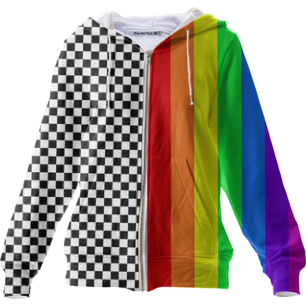 "Two-tone ""Opposites Attract"" Hoodie (Full-zip)"