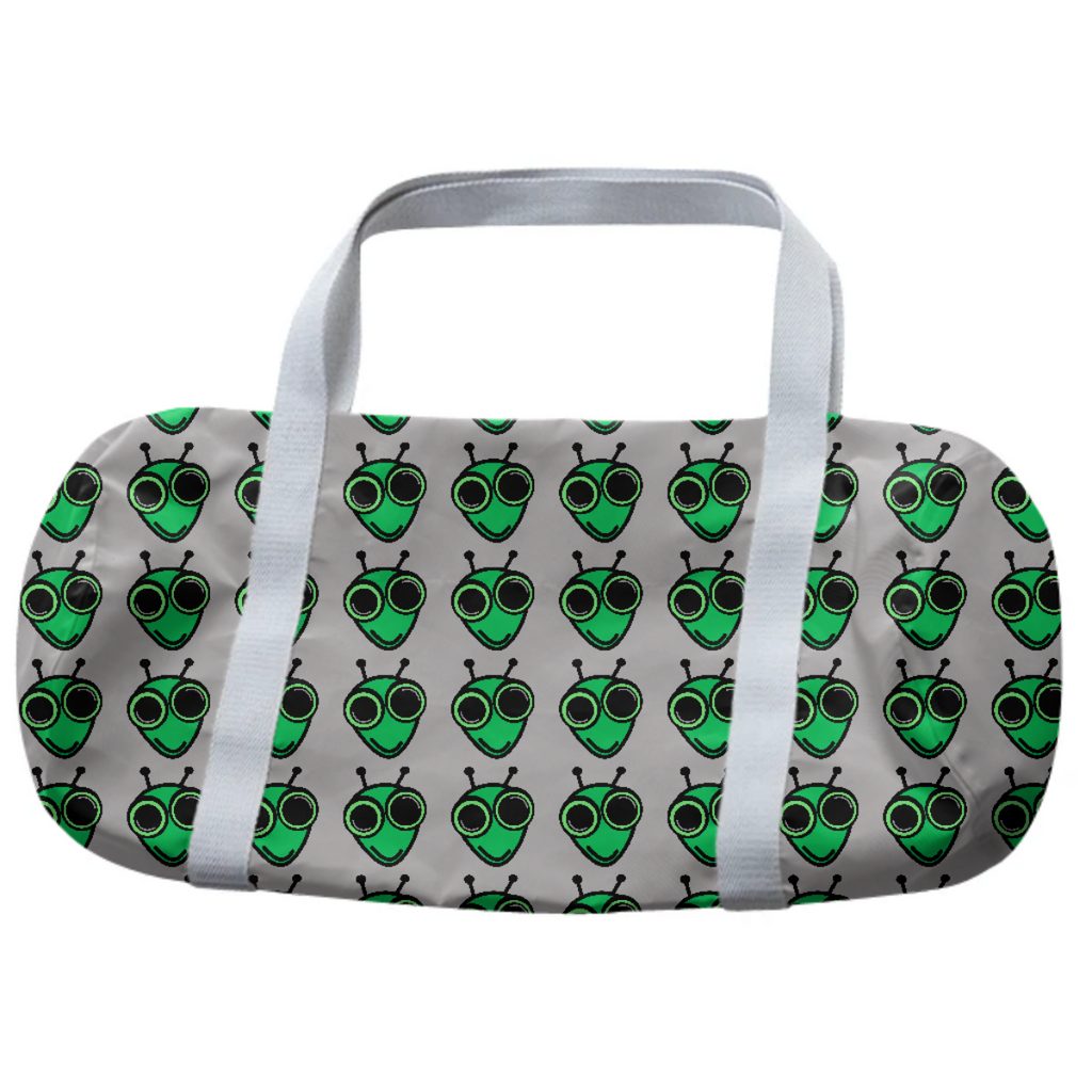 Gray duffle bag with green aliens