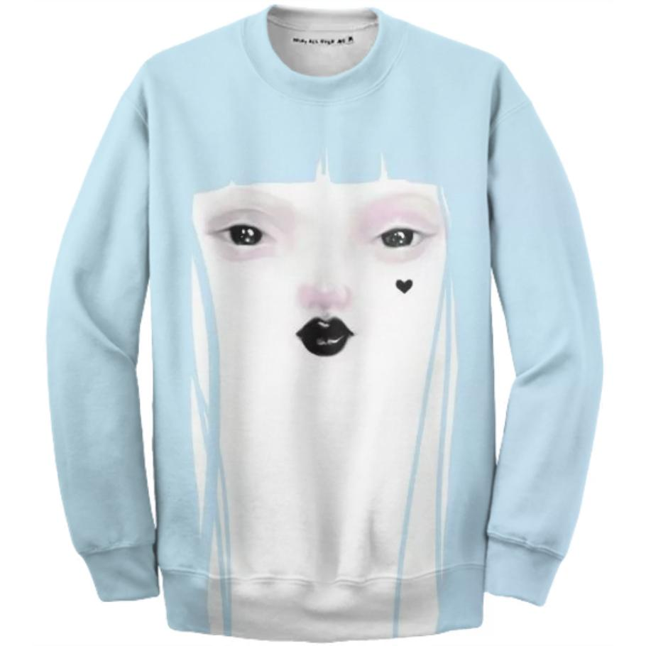 PAOM, Print All Over Me, digital print, design, fashion, style, collaboration, pidgin-doll, pidgin doll, Cotton Sweatshirt, Cotton-Sweatshirt, CottonSweatshirt, Pidgin, Doll, blue, autumn winter, unisex, Cotton, Tops