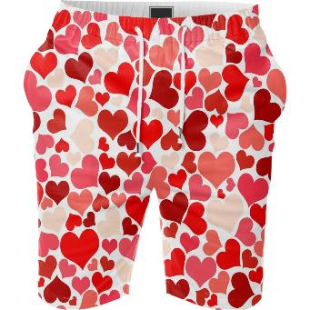 RED PINK BEIGE HEART EXPLOSION SUMMER SHORTS