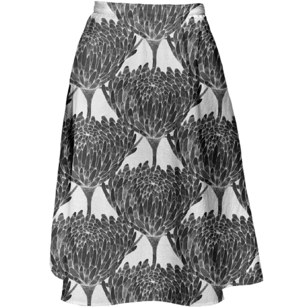 Chrysanthemum Crowd Black Midi Skirt