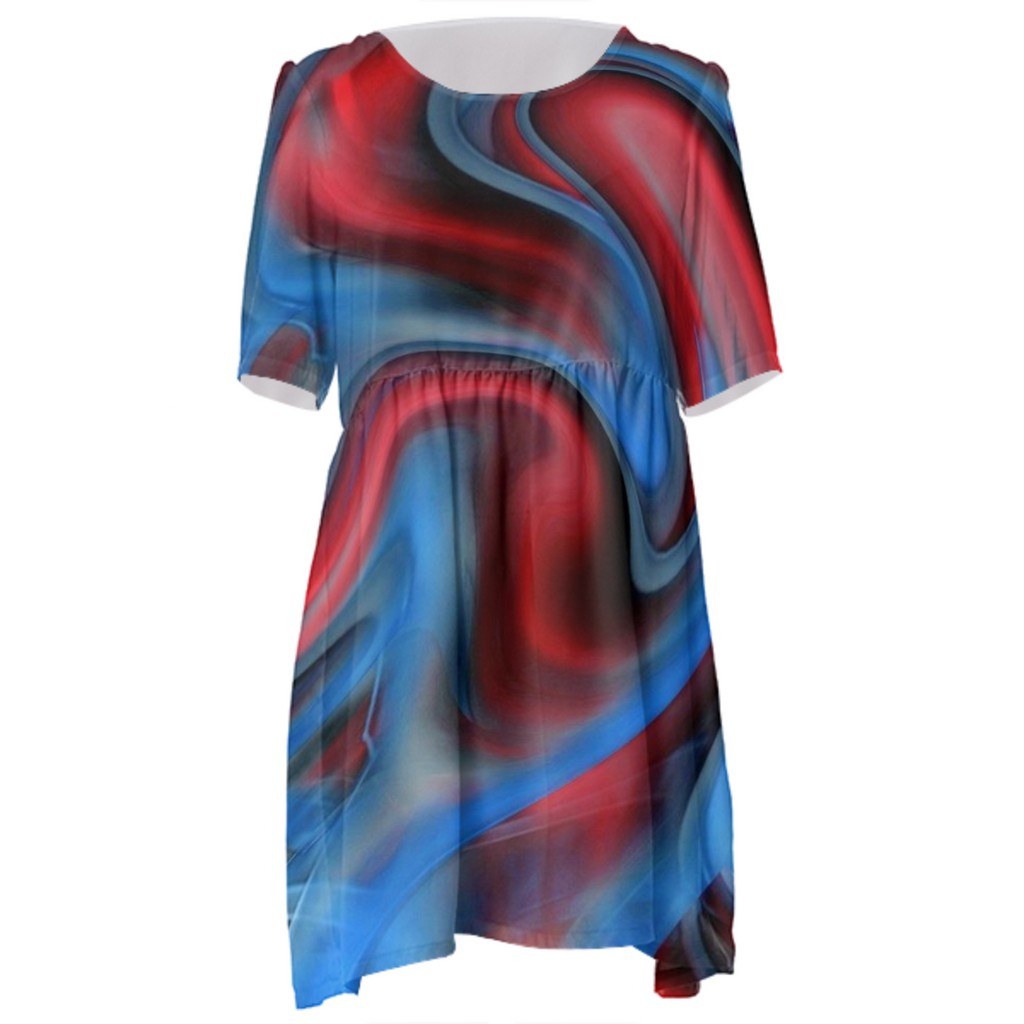 Blue Red Swirl Babydoll Dress