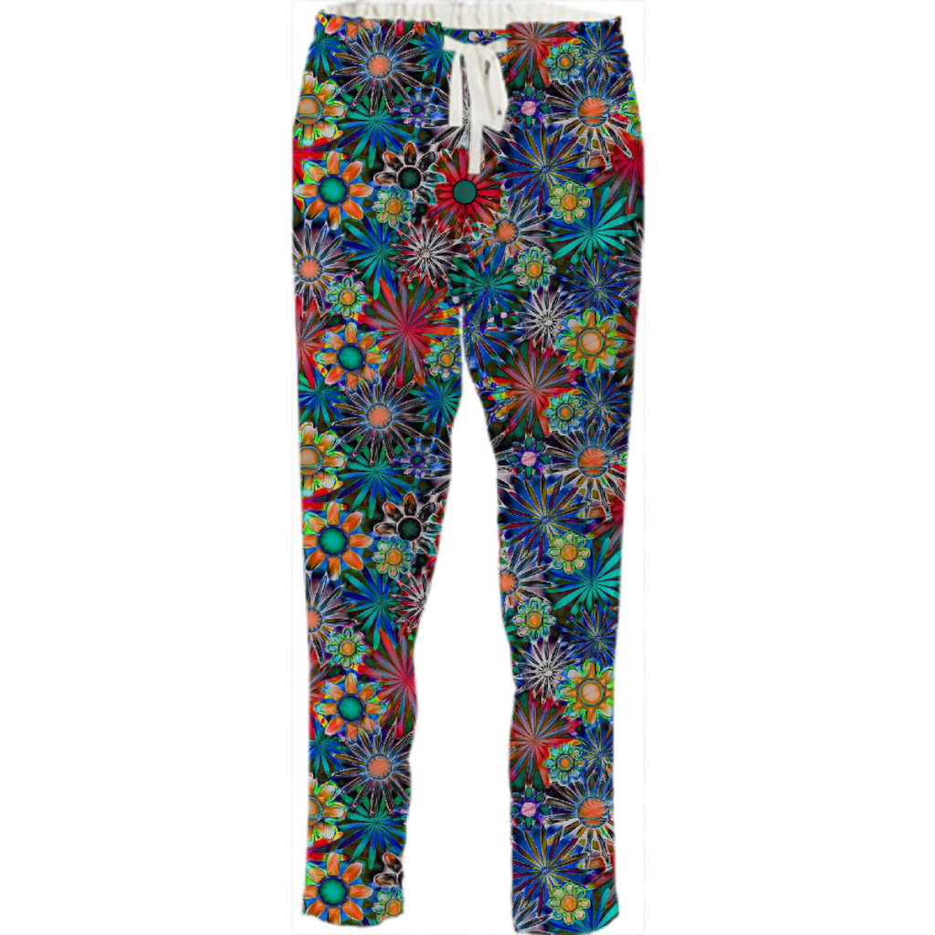Tropical Daisies Drawstring Pants