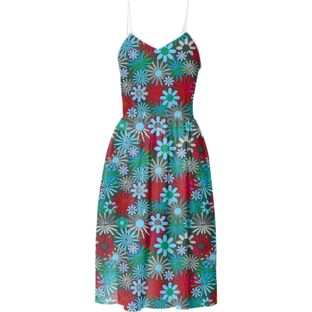 Red Blue Green Daisies Summer Dress