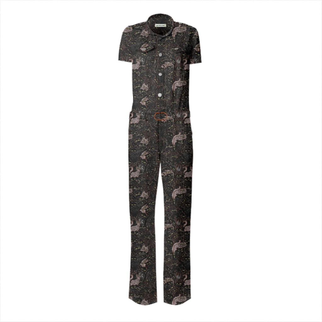 Spooky Cats Belted Jumpsuit