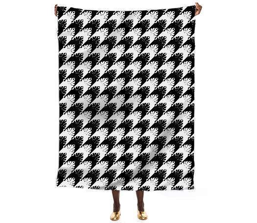 Unique Black White Hounds Tooth Patterned Scarf