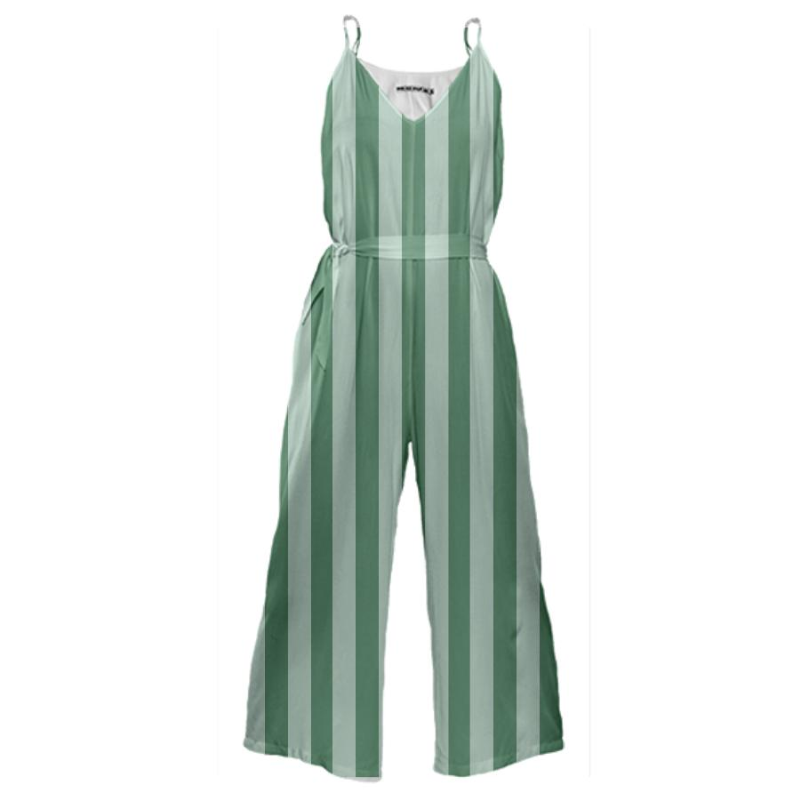 PAOM, Print All Over Me, digital print, design, fashion, style, collaboration, sugarandcloth, Tie Waist Jumpsuit, Tie-Waist-Jumpsuit, TieWaistJumpsuit, Green, Stripe, autumn winter spring summer, unisex, Poly, One Piece